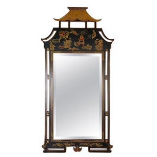 1950s Asian Style Decorative Chinoiserie Hand Painted Mirror For Sale