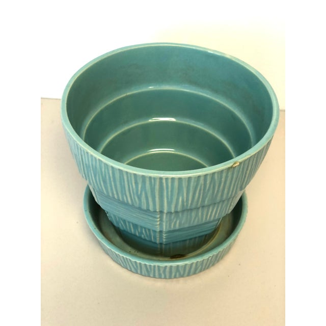"""McCoy Pottery 1940s - 1960s """"Teal Blue"""" Mid Century Flowerpot And Attached Saucer Bark Basket Weave Design, Large, Teal..."""