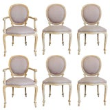 Image of Set of Six Carved Rope Dining Chairs With Whitewashed Finish For Sale