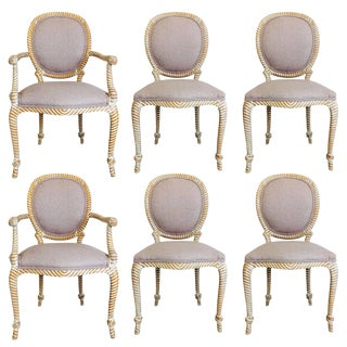 Set of Six Carved Rope Dining Chairs With Whitewashed Finish For Sale