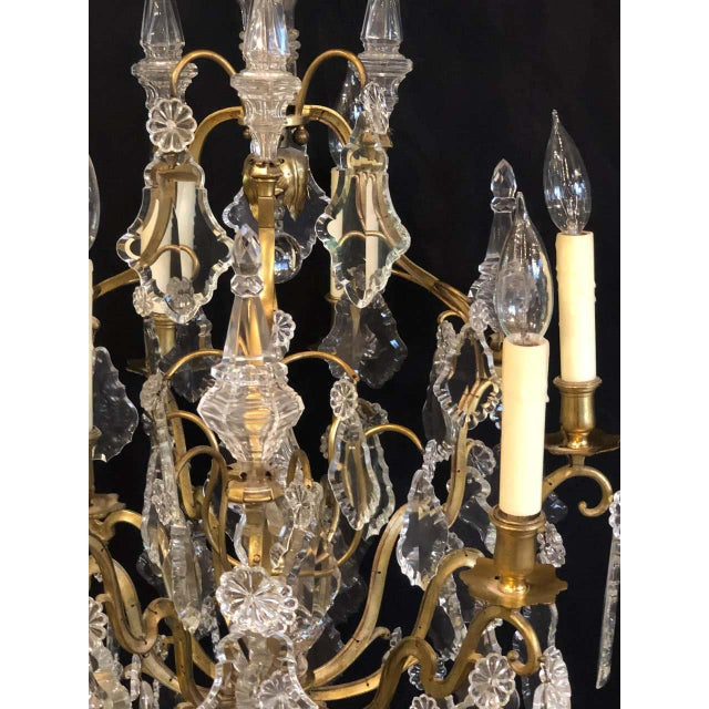 French Bronze and Crystal Gilt Chandelier, Louis XVI Style For Sale - Image 12 of 13