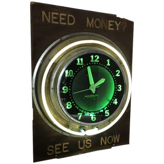 Antique Pawn Shop Sign With Art Deco Glo-Dial Neon Clock For Sale