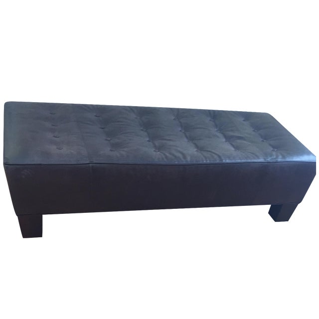 Brown Tufted Leather Ottoman - Image 1 of 3