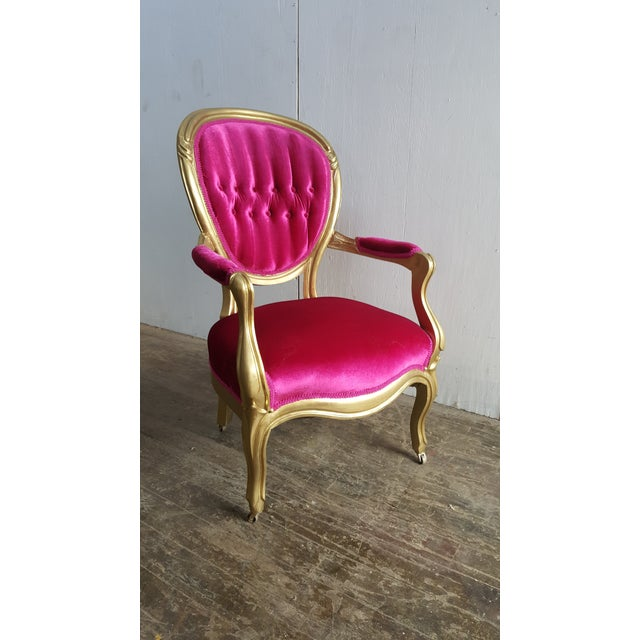 Antique Pink Velvet and Gold Chair Vintage Fuchsia Tufted Ladies Chair Stunning Victorian Velvet Armchair Measures: 23...