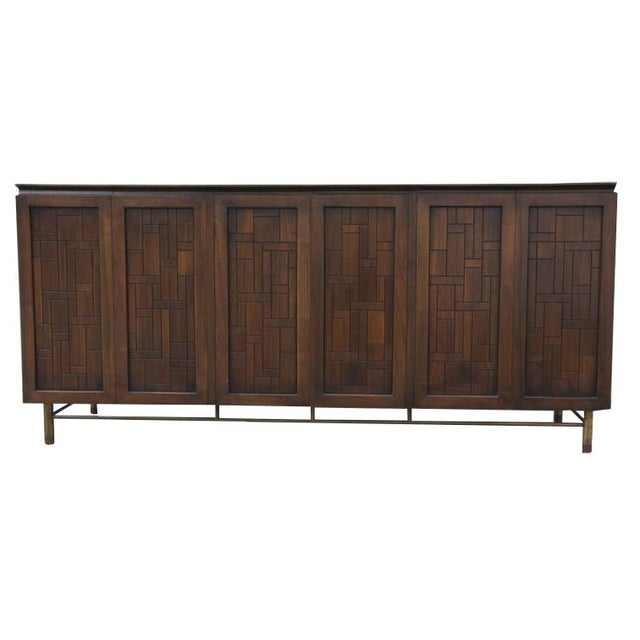 Johnson Furniture Mid-Century Patchwork Credenza For Sale