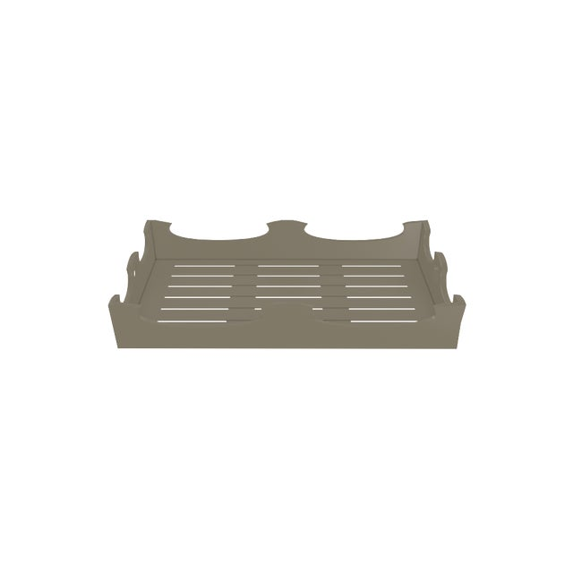 Metal Oomph Ocean Drive Outdoor Console Tray, Taupe For Sale - Image 7 of 8