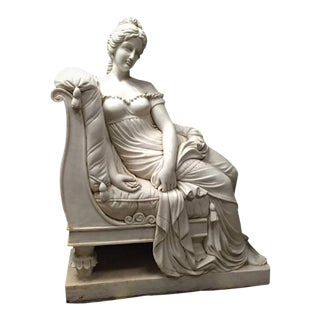 Mid 20th Century Continental Hand Carved White Marble Maiden For Sale
