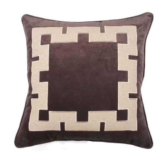 Gray Aegean Greek Key Square Velvet & Linen Pillow - A Pair - Image 4 of 5
