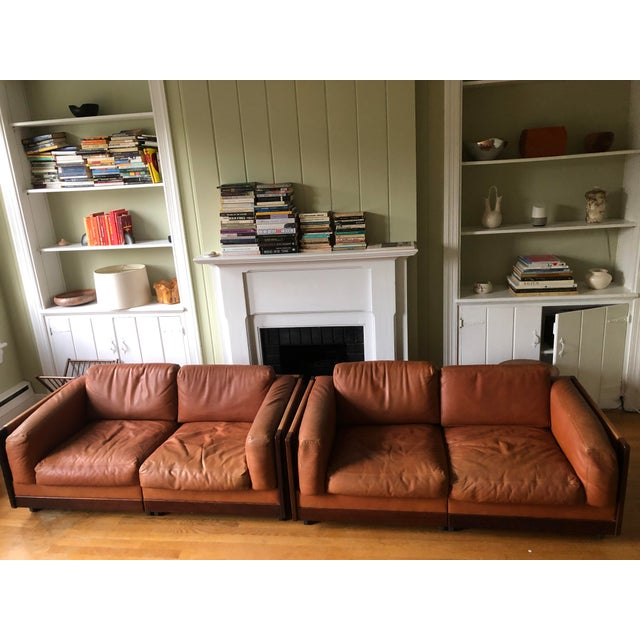 Mid Century Modern Tobia and Afra Scarpa for Gavina 920 Italian Leather Rosewood Sofas - a Pair For Sale - Image 12 of 12