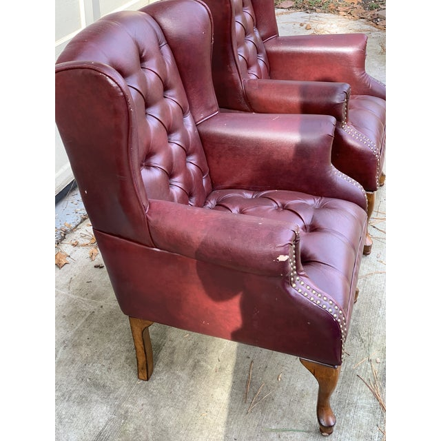 1990s 1990s Vintage Faux Leather Burgundy Chairs- A Pair For Sale - Image 5 of 8