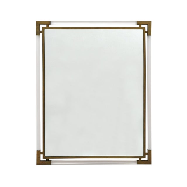 Mid-Century Modern Lucite and Brass Wall Mirror For Sale