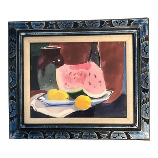 Original Vintage Watercolor Still Life W/Watermelon Painting For Sale