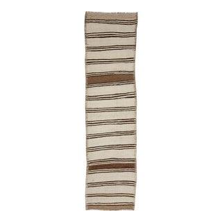 Vintage Striped Natural Kilim Runner For Sale