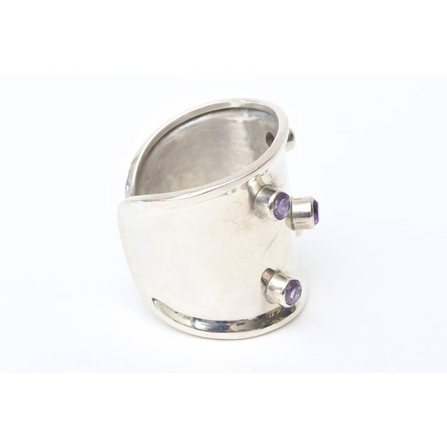 Purple Sterling Silver and Amethyst Hallmarked Modern Cuff Bracelet For Sale - Image 8 of 10