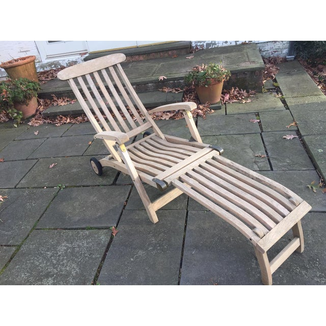1980s Vintage Barlow Tyrie Outdoor Commodore Steamer Chair Chaise For Sale - Image 4 of 12