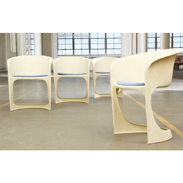 Cado by Steen Ostergaard Mid Century Danish Modern Molded Plastic Stacking Dining Chairs - Set of 4 - Image 2 of 7