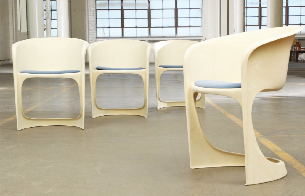 Cado By Steen Ostergaard Mid Century Danish Modern Molded Plastic Stacking  Dining Chairs   Set Of