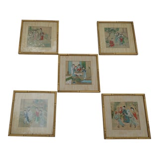 Chinese Watercolors, Hand-Painted on Silk, Set of Five For Sale