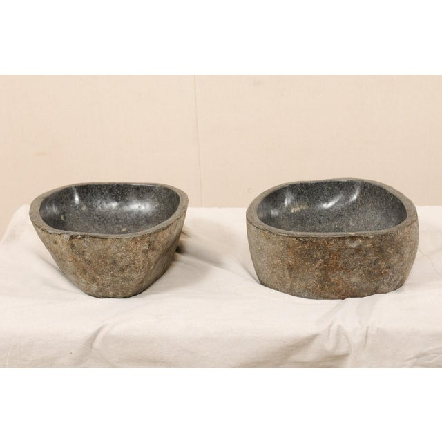 Contemporary Pair of Carved and Polished Grey River Rock Sink Basins For Sale - Image 3 of 12