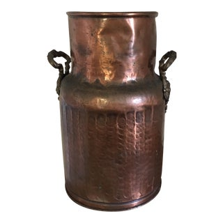 Solid Copper Vintage Milk Can or Umbrella Stand