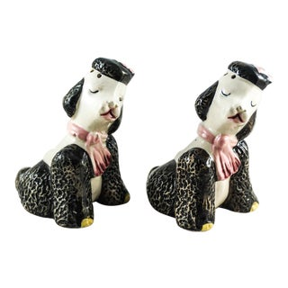 1960's French Poodle Salt & Pepper Shakers - A Pair