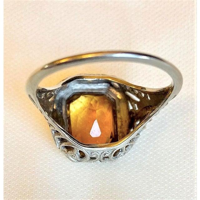 Orange Antique 18k White Gold and Citrine Ring For Sale - Image 8 of 10