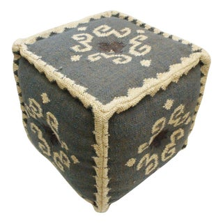 Indian Tribal Dhurrie Pouf Ottoman