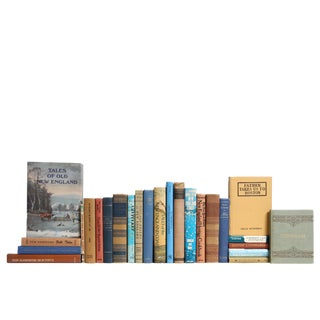 Olde New England Book Set in Blue & Tan, S/25 For Sale