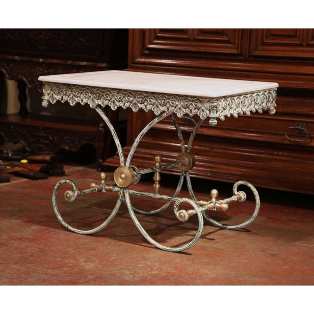 Painted French Iron Butcher or Pastry Table With Marble Top and Brass Finials For Sale - Image 4 of 12