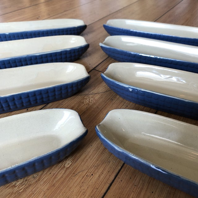 Traditional 1970s Blue Ceramic Corn Dishes - Set of 8 For Sale - Image 3 of 8