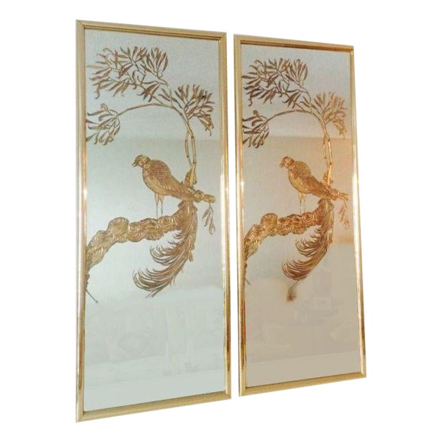 Brass and Gold Etched Bird Mirrors - a Pair For Sale