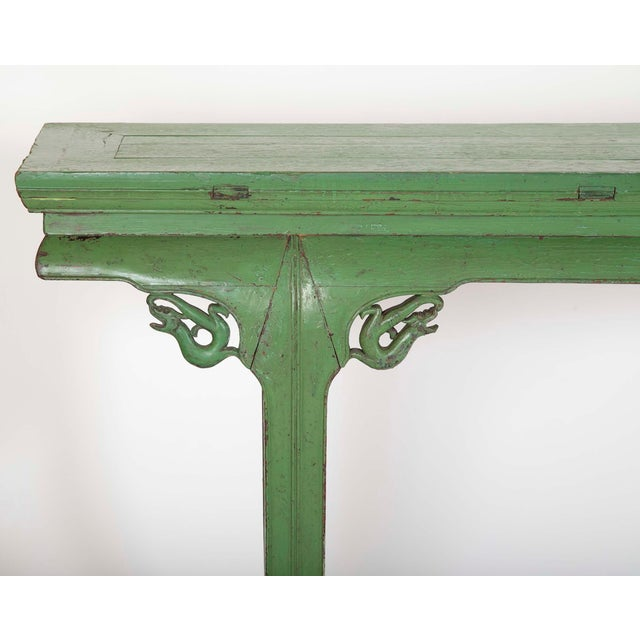 Green Painted Chinese Console Table, Large Scale For Sale In New York - Image 6 of 13