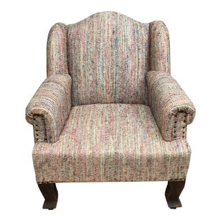 Mid-Century Handloom Upholstered Accent Chair For Sale