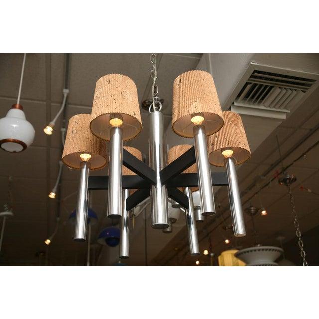 Modern Feldman Lamp Co. Chrome Tubular Chandelier With Cork Shades. - Image 1 of 11