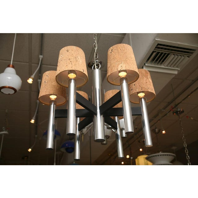 Smart 60's Chrome Tubular Chandelier with Cork Shades - Image 5 of 11