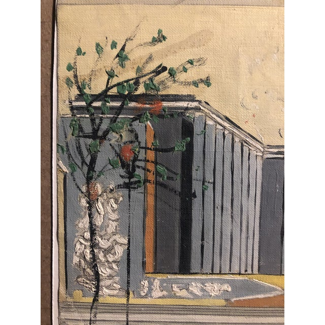 1960s Mid-Century Oil on Canvas of a Modern Classical Courtyard With Sculpture 1960s For Sale - Image 5 of 9