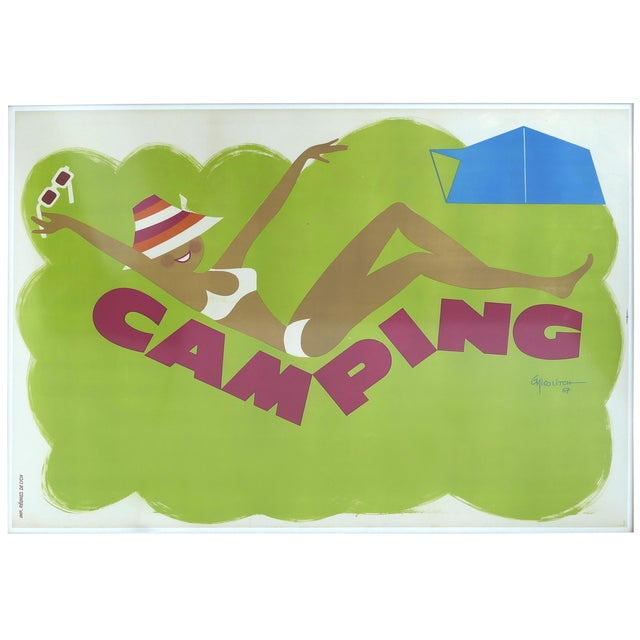 """French """"Camping"""" Lithographic Poster by Obrad Nicolitch, 1967 For Sale"""