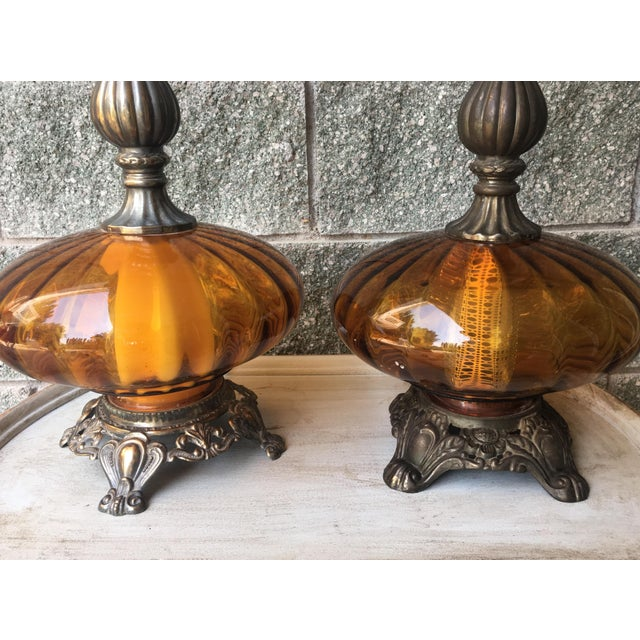 Hollywood Regency Vintage Amber Glass Lamps - Pair - Image 3 of 8