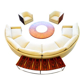 1969 Milo Baughman Semi Circle Sofa & Sofa Table Coffee Table With 2 Lounge Chairs for Thayer Coggin For Sale