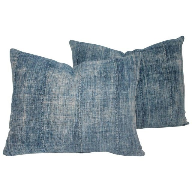 Blue 19th Century Linen Pillows - A Pair For Sale In Los Angeles - Image 6 of 6