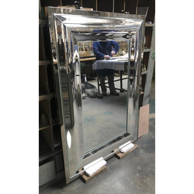 Contemporary Andre Hayat Rectangular Curved Silver Mercury Frame Mirror For Sale - Image 3 of 11
