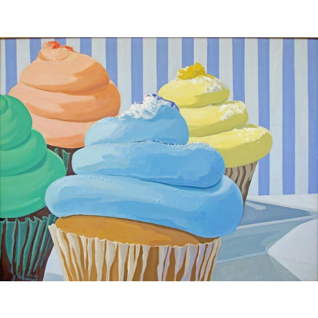 Four Cupcakes' Large Painting by Modern Expressionist George Brinner For Sale - Image 4 of 4