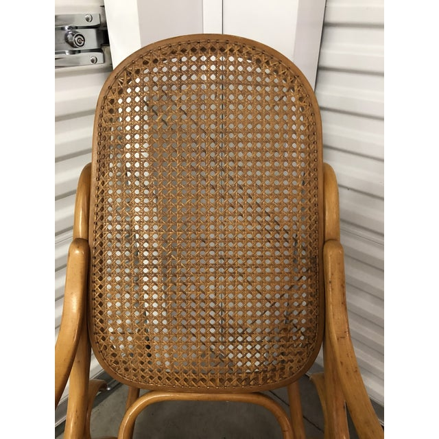 19th Century Thonet Bentwood & Cane Wood Rocker Rocking Chair For Sale - Image 9 of 13