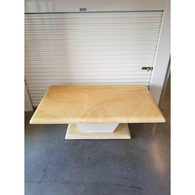 1970s Mid-Century Modern Karl Springer Style Faux Goat Skin Dining Table For Sale - Image 11 of 11