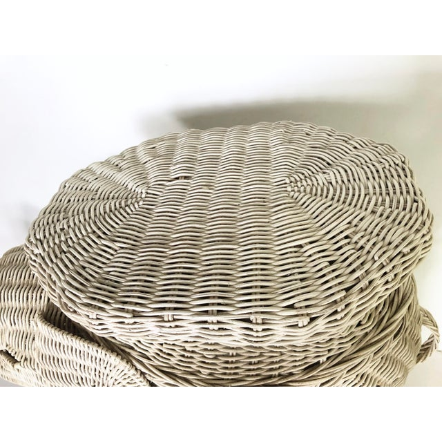 White Vintage Wicker Elephant Garden Stool Side Table For Sale - Image 8 of 13