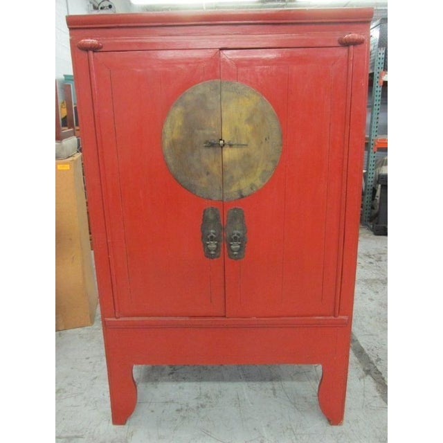 Chinese Antique Red Wedding Cabinet Armoire - Image 2 of 11 - Chinese Antique Red Wedding Cabinet Armoire Chairish