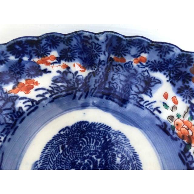 Royal Blue Antique Japanese Imari Oval Scalloped Bowl For Sale - Image 8 of 12