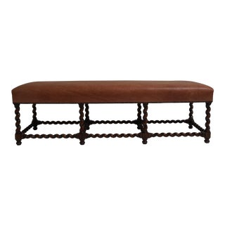 Ebanista Barley Twist Leather Bench For Sale