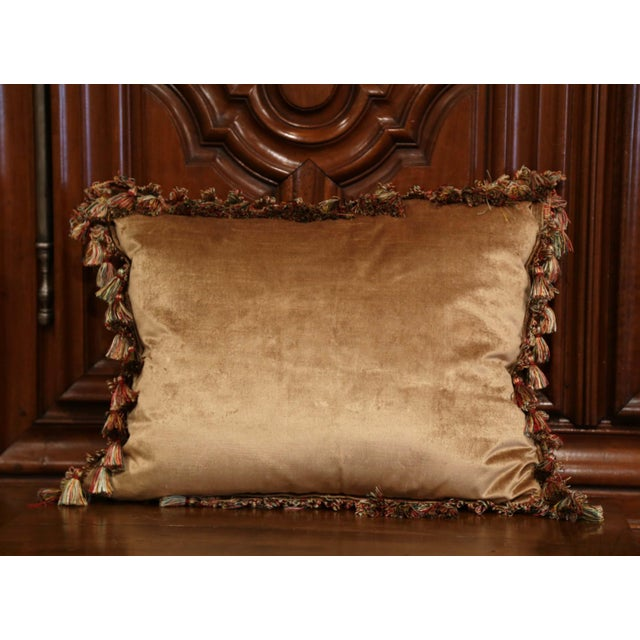 Handmade French Pillow With 19th Century Aubusson Verdure Tapestry Fragment For Sale - Image 9 of 10