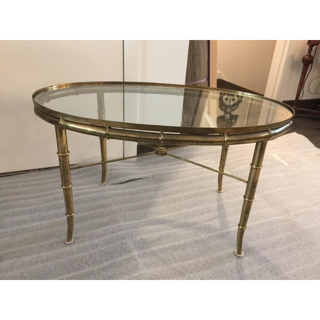 1970s Pair of Brass Faux Bamboo Mastercraft Oval Tables For Sale - Image 5 of 8